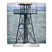 Guard Tower Alcatraz Shower Curtain