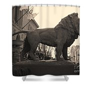 Guarded Lion Statue In Chicago Shower Curtain
