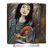Guardian Angel Of Pheasants Shower Curtain