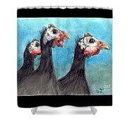 Guinea Hen Rooster Trio Farm Ranch Animal Art Shower Curtain