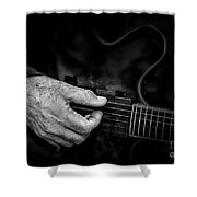 Guitar And Hand Bw Shower Curtain