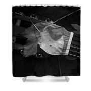 Guitar Autumn 4 - Bw Shower Curtain