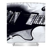Guitar - Black And White Shower Curtain