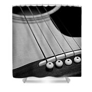 Guitar Bridge In Black And White Shower Curtain