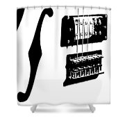 Guitar Graphic In Black And White  Shower Curtain