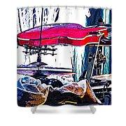 10261 Seasick Steve's Guitar On Drum Shower Curtain