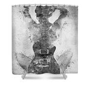 Guitar Siren In Black And White Shower Curtain by Nikki Smith