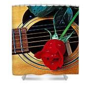 Guitar With Single Red Rose Shower Curtain