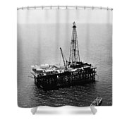 Gulf Of Mexico Oil Rig, 1950 Shower Curtain