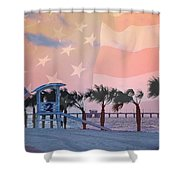 Gulf Shores Beach With Flag Shower Curtain
