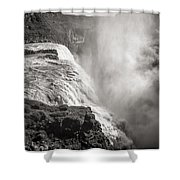 Gullfoss Iceland In Black And White Shower Curtain