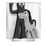 Gumby And Pokey B F F In B  W  Shower Curtain