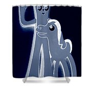 Gumby And Pokey  B F F In Negative Cyan Shower Curtain