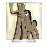 Gumby And Pokey B F F In Sepia Shower Curtain