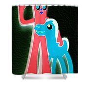 Gumby And Pokey B F F Negative Shower Curtain