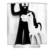 Gumby And Pokey B F F White Black Shower Curtain