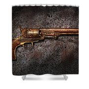 Gun - Colt Model 1851 - 36 Caliber Revolver Shower Curtain by Mike Savad