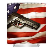 Gun On Flag Shower Curtain by Les Cunliffe