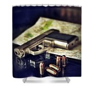 Gun With Bullets And Map Shower Curtain by Jill Battaglia