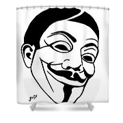Guy Fawkes Face Original Pop Art Painting Shower Curtain