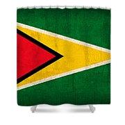 Guyana Flag Vintage Distressed Finish Shower Curtain