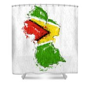 Guyana Painted Flag Map Shower Curtain