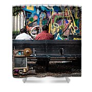 Guys On A Bench - Jackson Square Shower Curtain