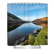 Gwydyr Forest Lake Shower Curtain by Adrian Evans