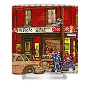 H. Piche Grocery - Goosevillage -paintings Of Montreal History- Neighborhood Boys Play Street Hockey Shower Curtain