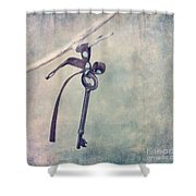 Key With A Ribbon Shower Curtain