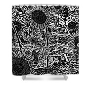 H2 Sunflowers Map Bw Shower Curtain