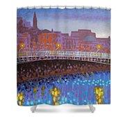 Ha Penny Bridge Dublin  Cropped Shower Curtain