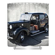 Hackney Carriage Austin Fx3 Of London C. 1955 Shower Curtain
