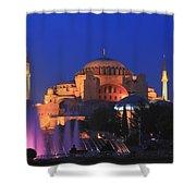 Hagia Sophia At Night Istanbul Turkey  Shower Curtain