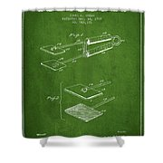 Hair Straightener Patent From 1909 - Green Shower Curtain
