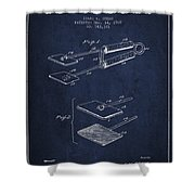 Hair Straightener Patent From 1909 - Navy Blue Shower Curtain