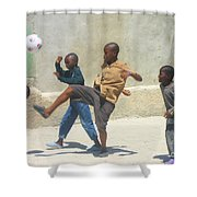 Haitian Boys Playing Soccer Shower Curtain