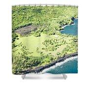 Aerial View Hale O Pi'ilani Heiau Honomaele Hana Maui Hawaii  Shower Curtain