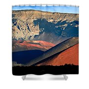 Haleakala Cinder Cones Lit From The Sunrise Within The Crater Shower Curtain