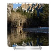 Half Dome And Cottonwoods Reflected In Merced River  Shower Curtain