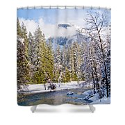 Half Dome And The Merced River Shower Curtain by Bill Gallagher