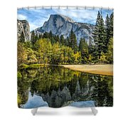 Half Dome Reflected In The Merced River Shower Curtain