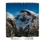 Half Dome Winter Shower Curtain by Bill Gallagher