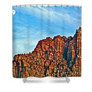 Half Moon Over Zion National Park-utah Shower Curtain