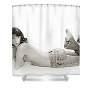 Half Nude Looking Back 1040.01 Shower Curtain