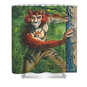 Half Wolf Werewolf Shower Curtain