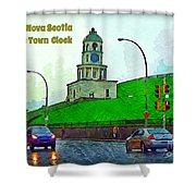 Halifax Historic Town Clock Poster Shower Curtain