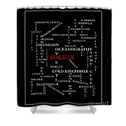 Halifax Nova Scotia Crosswords Red Shower Curtain