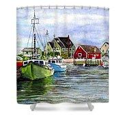 Peggys Cove Nova Scotia Watercolor Shower Curtain