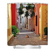 Halki Street Shower Curtain